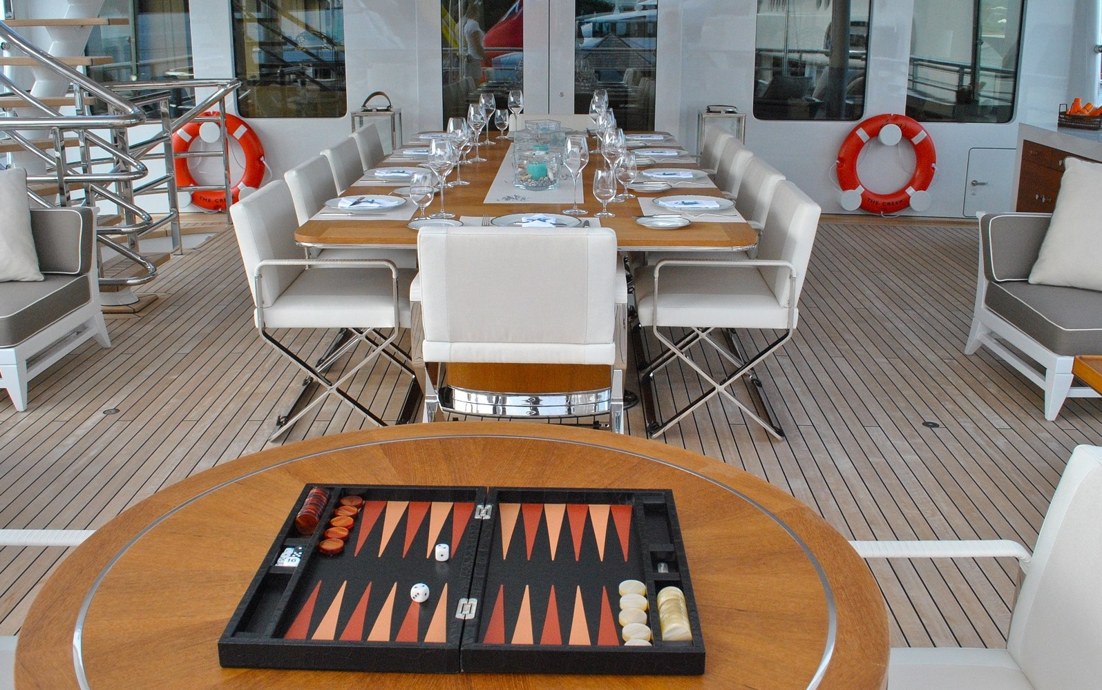 Yacht deck set for lunch.