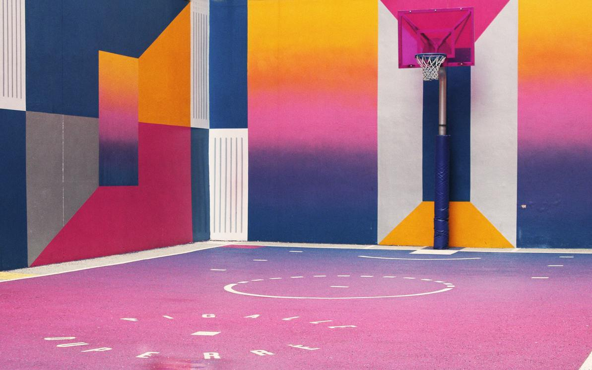 Artistic basketball court.